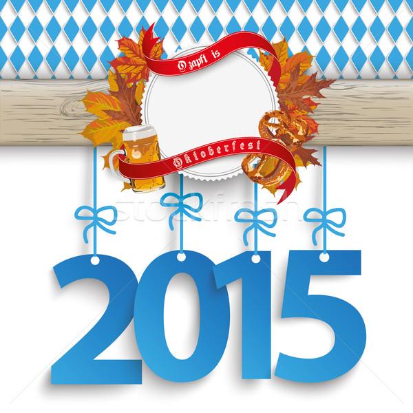Bavarian Oktoberfest Wooden Banner Foliage 2015 Stock photo © limbi007