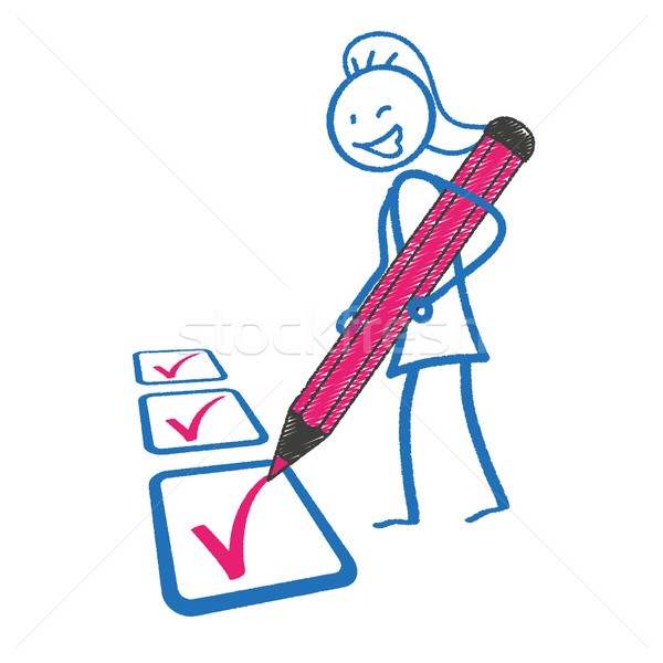 Blackboard Stickwoman Checklist Pink Pen Stock photo © limbi007