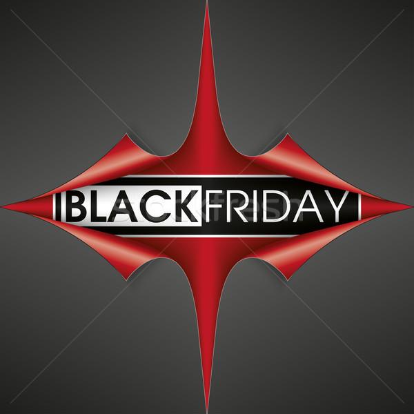 красный бумаги охватывать углу черная пятница уголки Сток-фото © limbi007