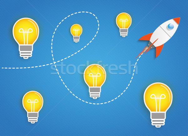 Repülés rakéta ötletek kék csíkos eps Stock fotó © limbi007