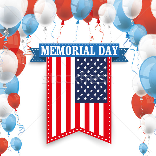 Memorial Day Ribbon US Flag Balloons Stock photo © limbi007