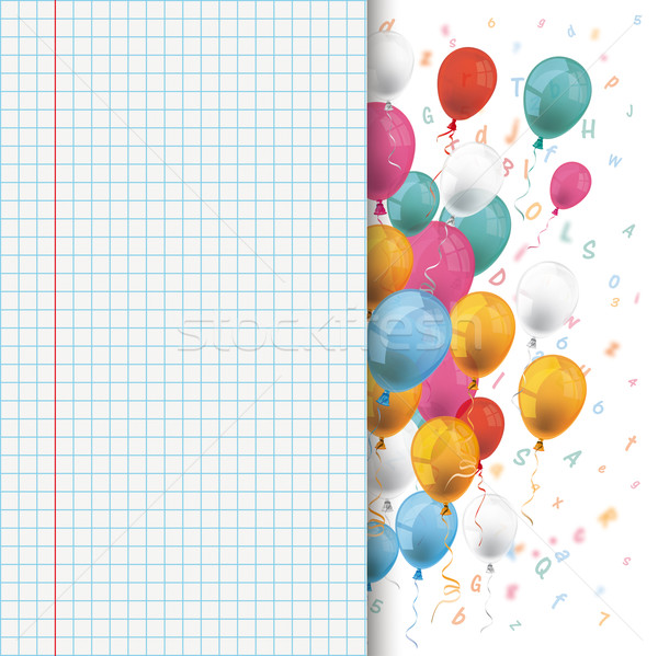 Colored Balloons Letters Checked School Paper Stock photo © limbi007