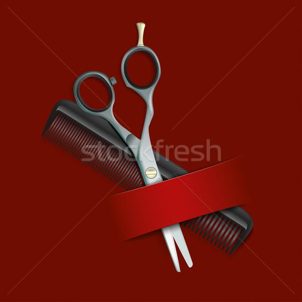 Escuro vermelho cobrir pente tesoura bandeira Foto stock © limbi007