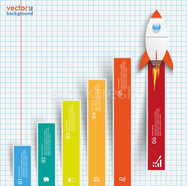Diagram növekedés színes rácsok rakéta papír Stock fotó © limbi007