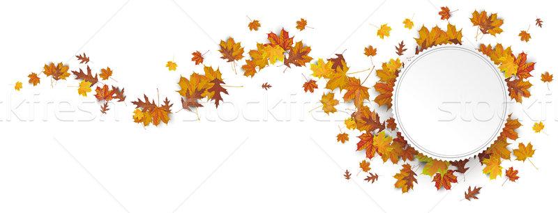 Papír embléma ősz lomb hullám fejléc Stock fotó © limbi007