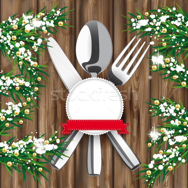Bois neige couteau fourche cuillère Photo stock © limbi007