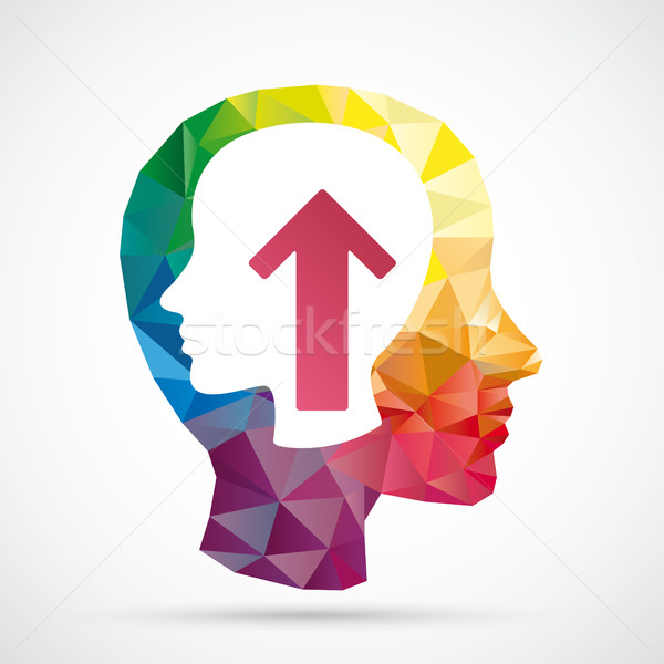 Head In Colored Low Poly Human Head Brain Stock photo © limbi007