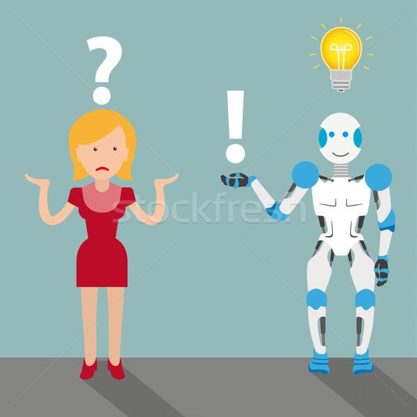 Mulher robô desenho animado pergunta responder bulbo Foto stock © limbi007