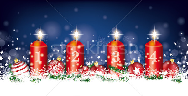 Christmas Night Header Snowflakes Candles Baubles 4 Advent Stock photo © limbi007