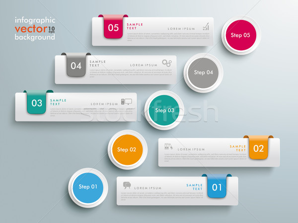 Circles Chart 5 Options 5 Tabs Infographic Stock photo © limbi007
