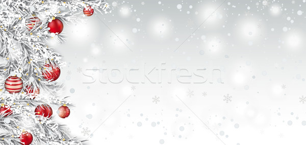 Frozen Twigs Red Baubles Side Snowfall Header Stock photo © limbi007