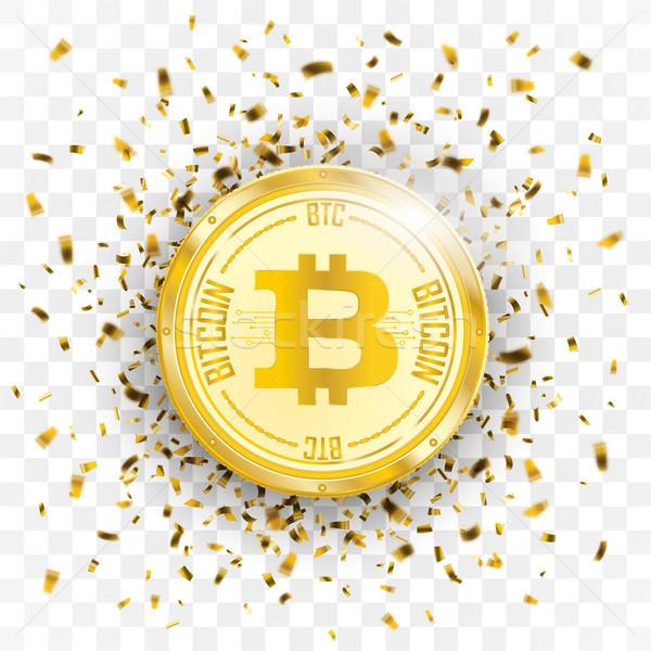 Zdjęcia stock: Złoty · konfetti · bitcoin · przezroczysty · eps · 10