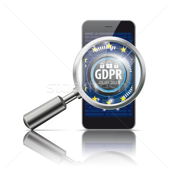 Black Smartphone Loupe GDPR Stock photo © limbi007