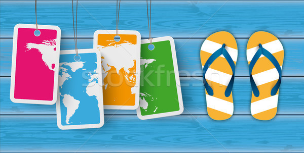 Blue Wood Price Stickers World FlipFlops Stock photo © limbi007