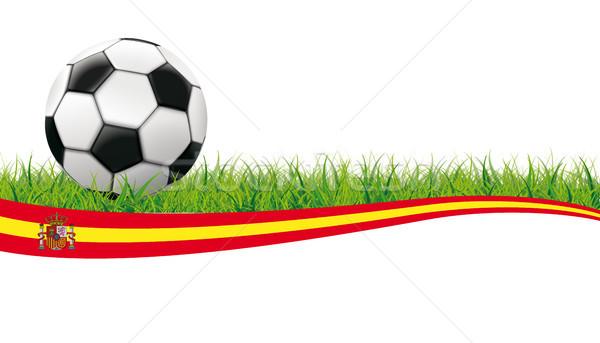 Football Grass Header Spain White Background Stock photo © limbi007