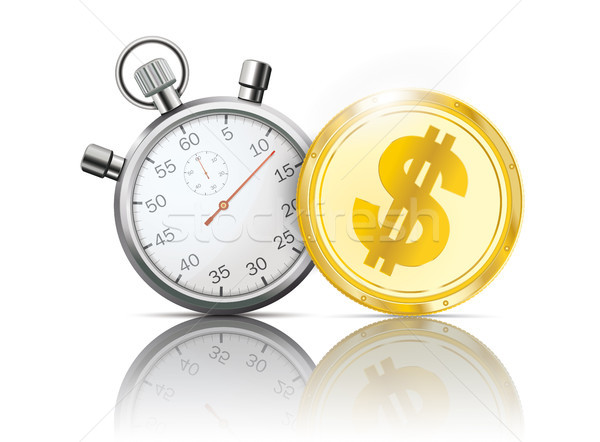Golden Dollar Coin Stopwatch Mirror Stock photo © limbi007
