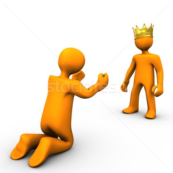 Bedelaar koning gouden kroon witte business Stockfoto © limbi007