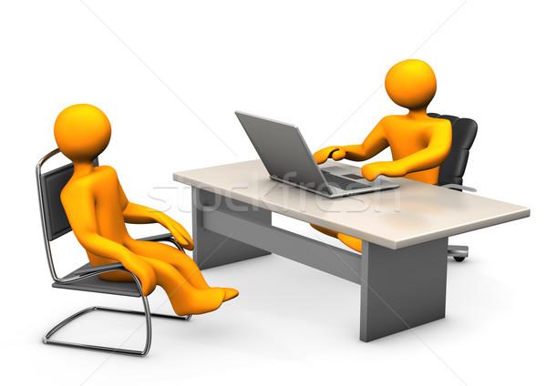 Berater Client Laptop Stuhl weiß Business Stock foto © limbi007