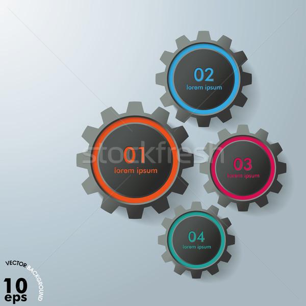 Four Gears Infographic Design Black Edition Stock photo © limbi007