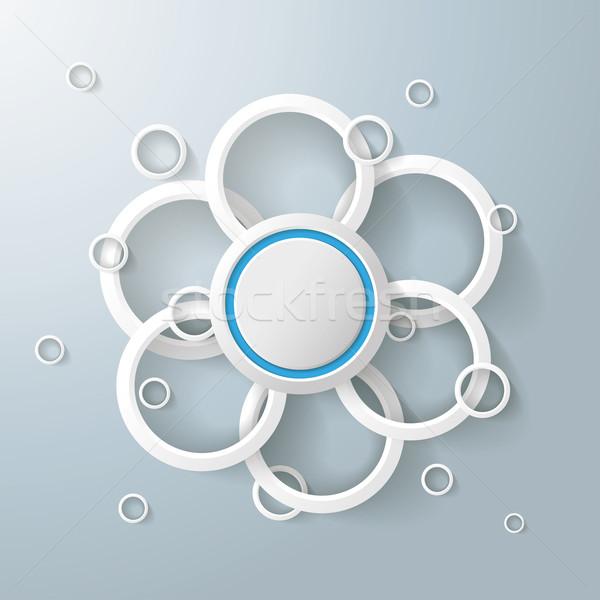 Branco anéis círculos flor projeto Foto stock © limbi007