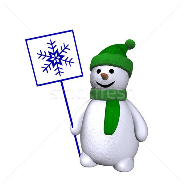 Snowman with snowflake 3d Stock photo © limbi007