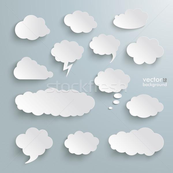 Clouds Set Silver Background Stock photo © limbi007