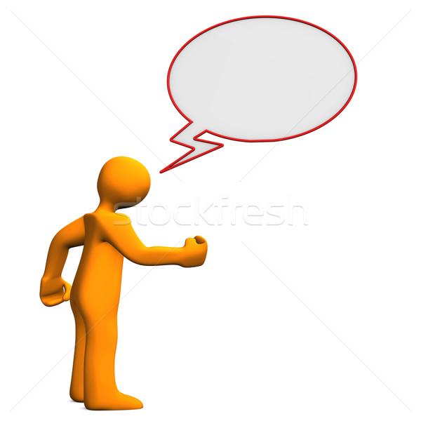 речи пузырь сердиться оранжевый женщину человека Сток-фото © limbi007