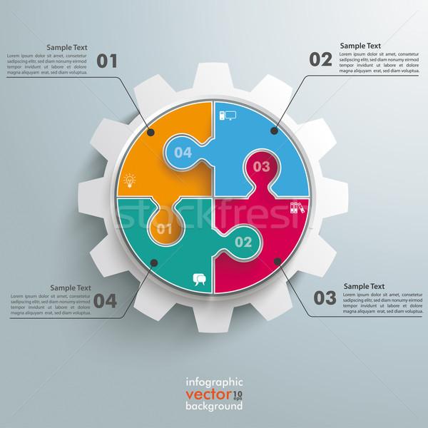 Foto d'archivio: Colorato · cerchio · puzzle · attrezzi · infografica · grigio