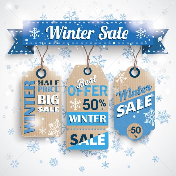 Inverno venda fita preço adesivos bokeh Foto stock © limbi007