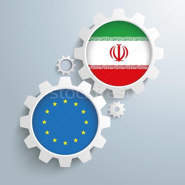 İran dişliler beyaz bayraklar Stok fotoğraf © limbi007
