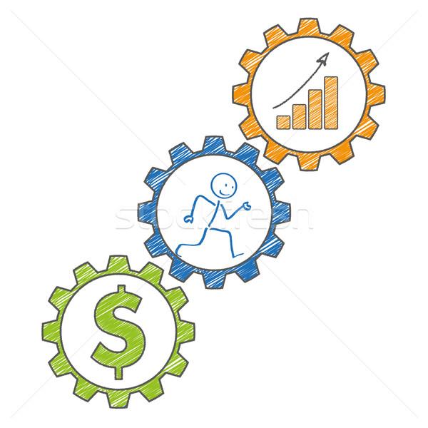 Stickman Gears Dollar Chart. Stock photo © limbi007