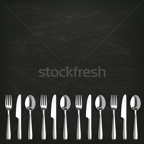 Blackboard Knifes Forks Spoons Stock photo © limbi007