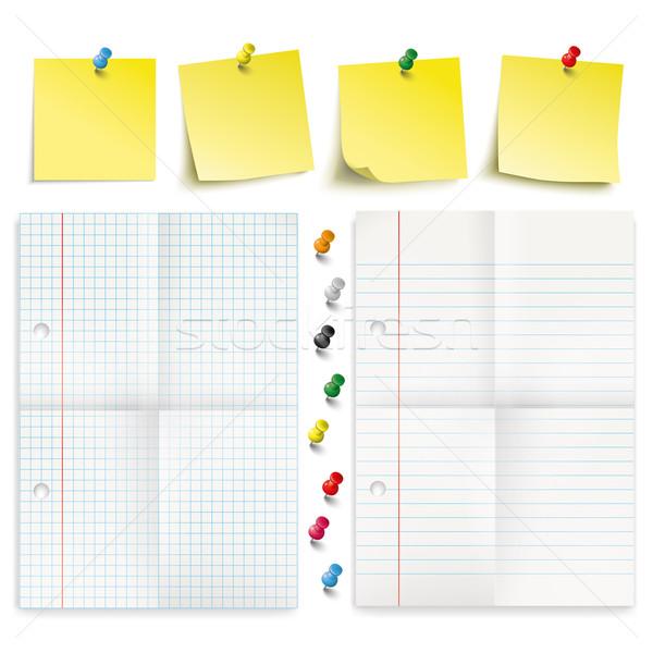 Yellow Sticks Colored Pins Folded Papers Set Stock photo © limbi007