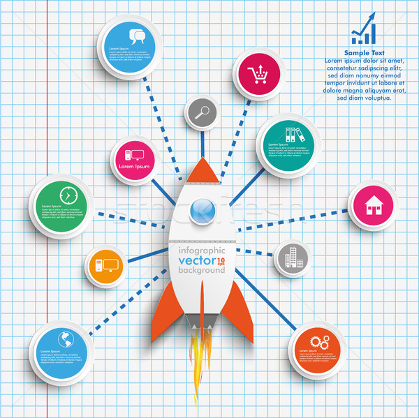 Rocket Circles Network Infographic Checked Paper Stock photo © limbi007