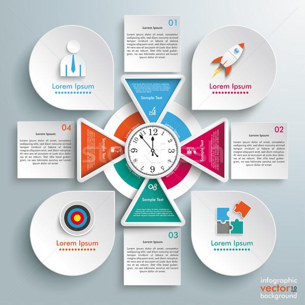 Big Circle Infographic 4 Triangles Clock Squares Drops Stock photo © limbi007
