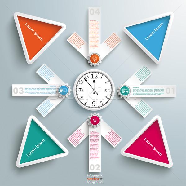 4 White Arrows Cross Clock Centre Colored Triangles Stock photo © limbi007