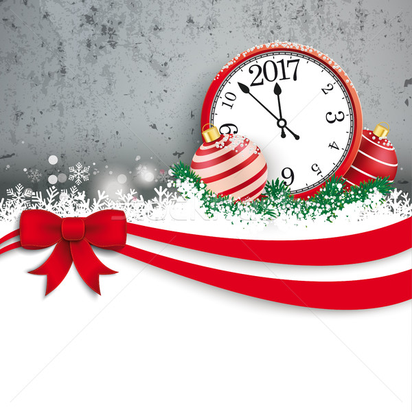 Christmas Red Ribbon Bauble Clock 2017 Concrete Stock photo © limbi007