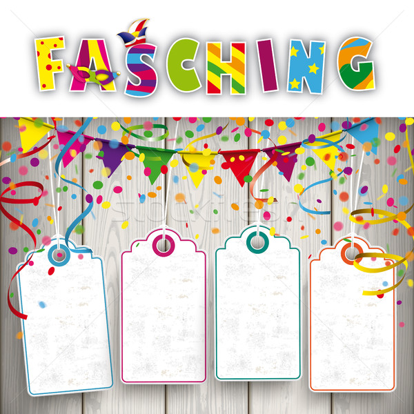 Fasching Confetti Ribbons 4 Price Stickers Stock photo © limbi007