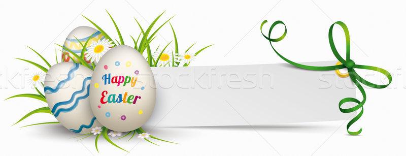 Papier banner groene lint paaseieren gras Stockfoto © limbi007
