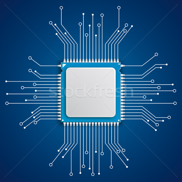 Futuristic Processor Circuit Board Blue Background Stock photo © limbi007