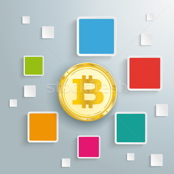 Colored Quadrates Infographic Golden Bitcoin Stock photo © limbi007