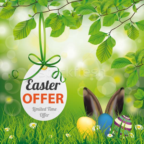 Пасху цен наклейку яйцо заяц ушки Сток-фото © limbi007