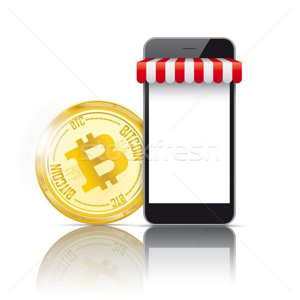 Stock fotó: Okostelefon · bitcoin · fizetés · online · bolt · fekete