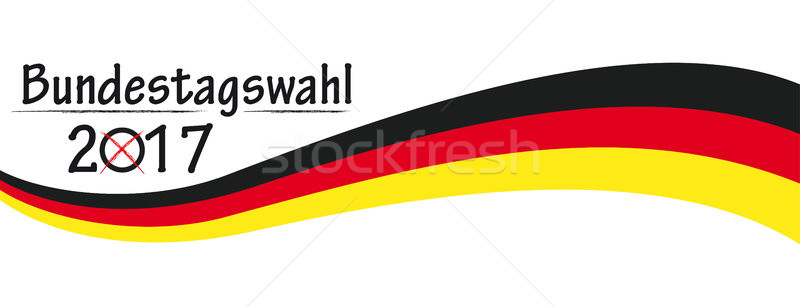 Paper Banner German Flag Bundestagswahl 2017 Stock photo © limbi007