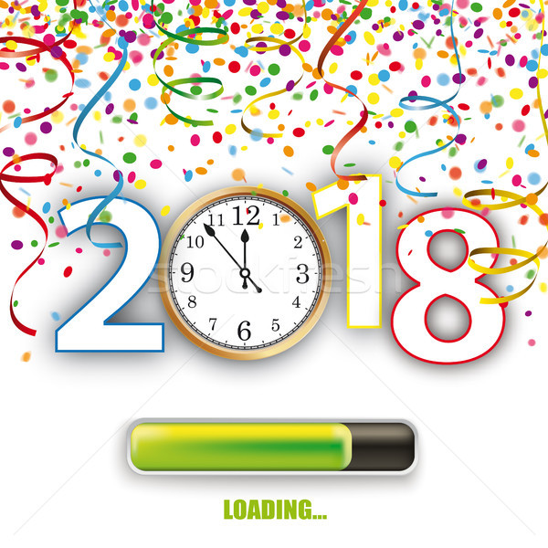 Clock 2018 Loading Silvester Confetti Ribbons Stock photo © limbi007