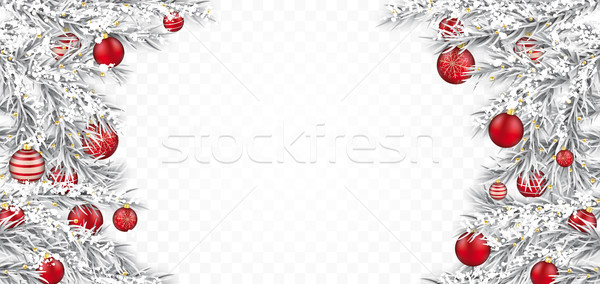 Frozen Twigs Red Baubles Transparent Header Stock photo © limbi007