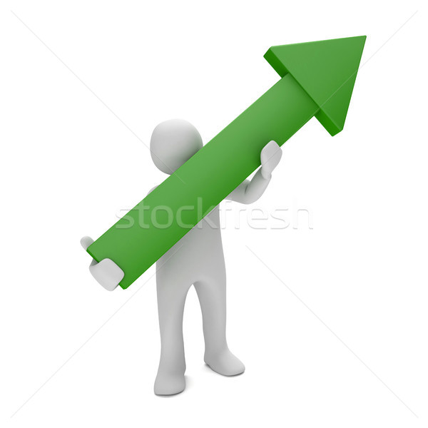 Manikin Green Arrow Upward Stock photo © limbi007