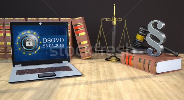 DSGVO Notebook Judges Gavel Paragraph Book Scale Stock photo © limbi007