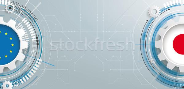 Евросоюз Япония Gear строительство плате баннер Сток-фото © limbi007