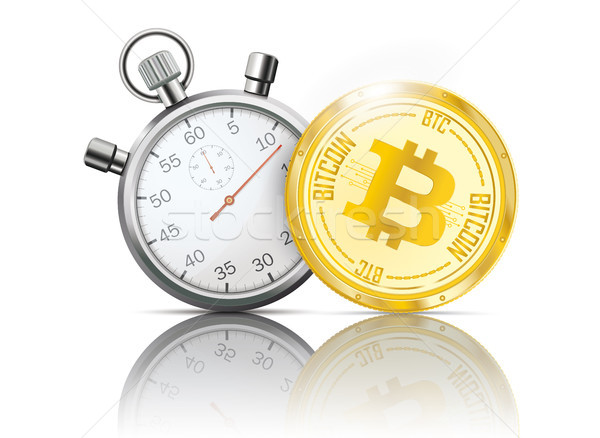 Golden Coin Stopwatch Bitcoin Mirror Stock photo © limbi007